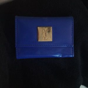 Yves Saint Laurent Small Blue Leather Wallet